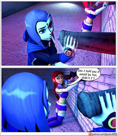 Teen Titans- Raven, Starfire..