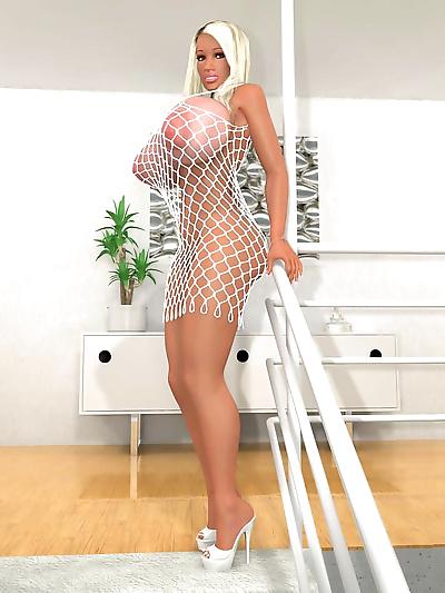 Busty 3d blonde in fishnet..
